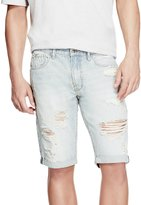 GUESS Men's Destroyed Striped Shorts