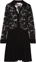Sandro Roxane pleated lace and crepe mini dress