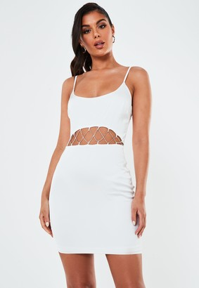 Missguided White Satin Diamante Cut Out Cami Mini Dress