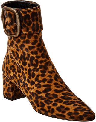 Saint Laurent Joplin 50 Leopard Print Suede Bootie