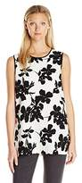 Vince Camuto Women's Sleeveless Fresco Blooms Tunic