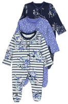 George 3 Pack Assorted Floral Sleepsuits
