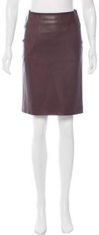 Hermes Leather Knee-Length Skirt