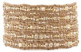 Chan Luu Natural Pearl - Glass Bead and Crystal Multi Wrap Bracelet on Leather