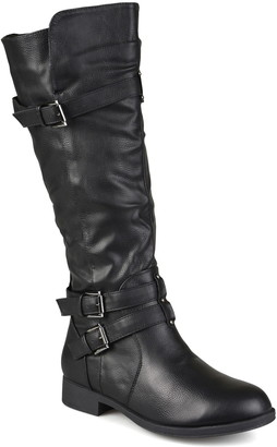 Journee Collection Bite Ruched Riding Boot - Wide Calf