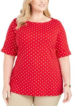 Karen Scott Plus Size Dot-Print Elbow-Sleeve Top, Created For Macy's