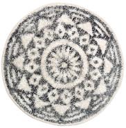 HKliving - Small Cotton Round Bath Mat 60 cm - Grey/White