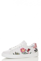Quiz White Flower Embroidered Trainers