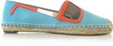 Tory Burch Sunny Jewel Oasis and Multicolor Nubuck & Patent Leather Flat Espadrilles