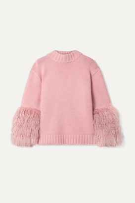 Sally LaPointe Shearling-trimmed Merino Wool And Cashmere-blend Sweater - Baby pink
