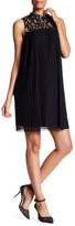 Maggy London Sleeveless Mock Neck Pleated Dress