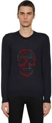Alexander McQueen Wool Knit Sweater W/Tartan Skull