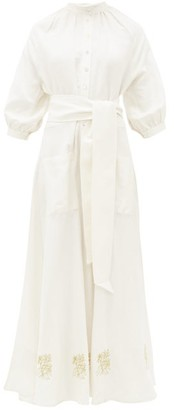 ÀCHEVAL PAMPA Valia Floral-embroidered Linen-blend Dress - Womens - White