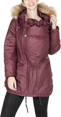 Modern Eternity Sofia Waxed 3-in-1 Maternity Jacket with Faux Fur Trim