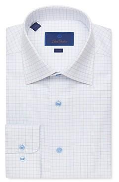 David Donahue Windowpane Jacquard Trim Fit Dress Shirt