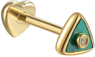Pamela Love White Diamond Malachite Triangle Single Thread Through Stud Earring - Yellow Gold