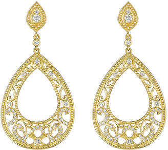 Penny Preville Scroll Pear Shape Earrings With Top Pear Post