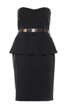 Quiz Curve Black Strapless Peplum Midi Dress