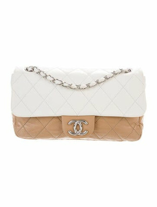 Chanel E/W Quilted Flap Bag Beige