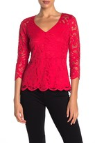 Lace V-Neck 3/4 Sleeve Scalloped Top