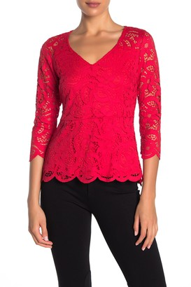 Nanette Nanette Lepore Lace V-Neck 3/4 Sleeve Scalloped Top