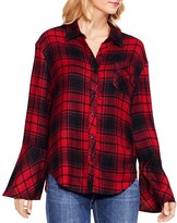 Vince Camuto Stateside Plaid Bell Sleeve Shirt