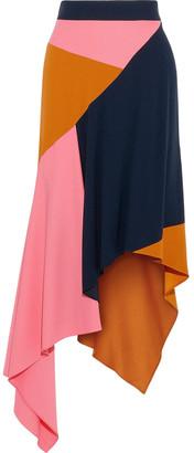 Peter Pilotto Asymmetric Color-block Cady Midi Skirt