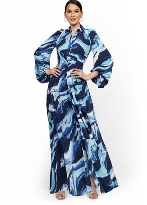New York & Co. Petite Statement-Sleeve Twist-Front Maxi Shirtdress