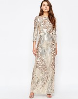 Little Mistress Heavily Embellished 3/4 Sleeve Maxi Dress