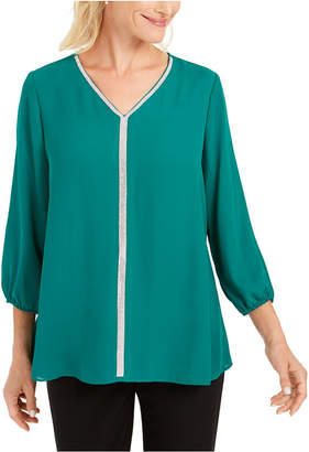 JM Collection Jeweled Tiered-Hem Blouse