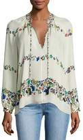 Derek Lam 10 Crosby Nehru Long-Sleeve Floral Silk Blouse