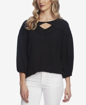 Vince Camuto Elbow Sleeve Chevron Lace Blouse