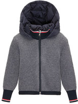 Moncler Ribbed Cardigan w/ Down Hood, Navy/Gray, Size 4-6