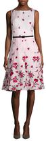 Oscar de la Renta Floral Embroidered Fit And Flare Dress