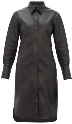 Joseph Brann Leather Shirtdress - Womens - Black