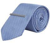 Burton Mens Pale Blue Geometric Tie & Clip