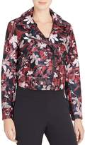 Catherine Malandrino Veruca Floral Print Faux Leather Moto Jacket