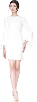 Alice + Olivia Off White Dora Fitted Dress With Trumpet Sleeves
