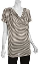 linQ bamboo striped cotton blend draped neck top