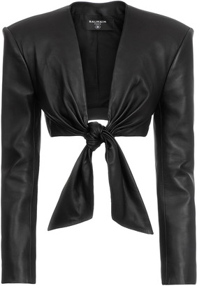 Balmain Tie-Front Cropped Leather Jacket