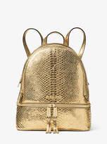 Michael Kors Rhea Medium Metallic Embossed-Leather Backpack