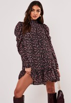 Missguided Black Floral Tiered Puff Sleeve Mini Dress
