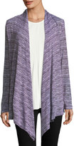 Allen Allen Striped Open-Front Cardigan