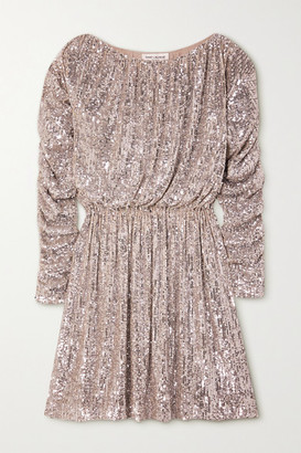Saint Laurent Ruched Sequined Tulle Mini Dress - Silver