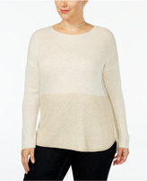 INC International Concepts Plus Size Two-Tone High-Low Sweater, Only at Macy's