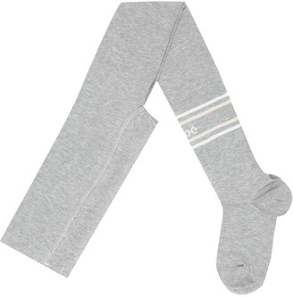Chloé Kids Logo intarsia stretch-cotton tights