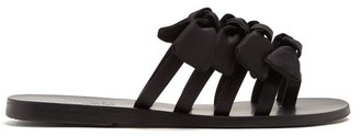 Ancient Greek Sandals Hara Bow-embellished Satin Slides - Womens - Black