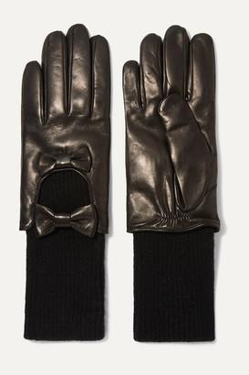 Portolano Bow-embellished Leather And Cashmere Gloves - Blue