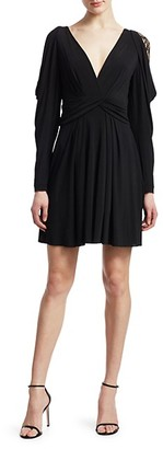 Alberta Ferretti Puff Sleeve Lace Detail Fit--Flare Dress