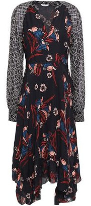 Joie Morley Asymmetric Georgette-paneled Floral-print Silk-crepe Midi Dress